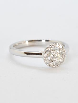 18k White Gold Diamond Engagement Ring .38 carat