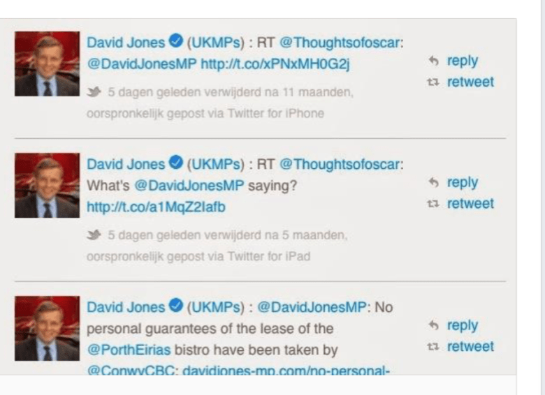 "David Jones MP, ""I've never had anything to do with the blog 'Thoughts of Oscar', in anyway what so ever""."