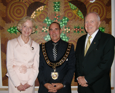 Her Excellency Ms Quentin Bryce AC, Mayor of Coober Pedy Steve Baines and His Excellency Mr Michael Bryce AM AE