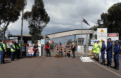Camp Climate Change protesters presented a Community Decommission Order at the Port Augusta Power Station