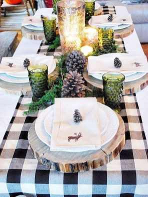 Modern Rustic Christmas Table Settings Ideas 48
