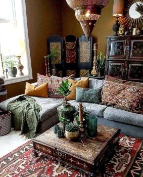 Romantic Rustic Bohemian Living Room Design Ideas 27