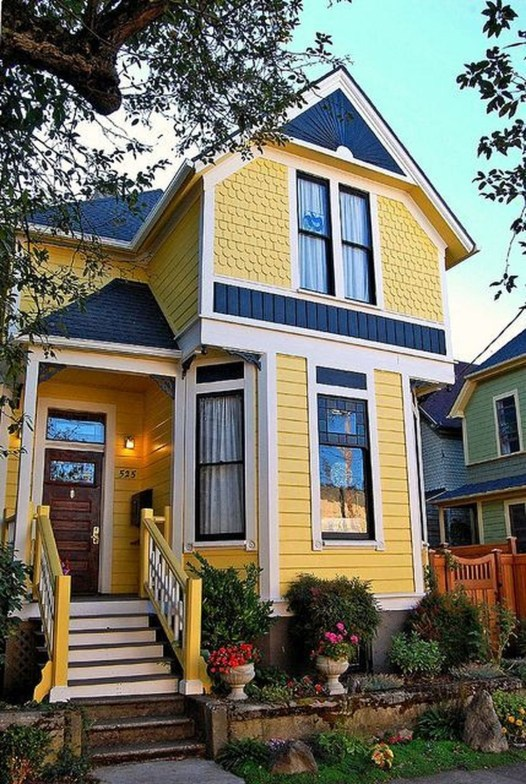 Flawless Exterior House Paint Ideas With Yellow Colors 52