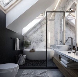Modern Attic Bathroom Design Ideas 20