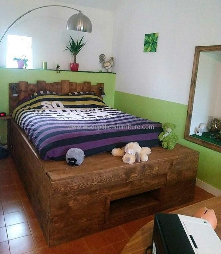 Fancy Diy Ideas To Make Bed Place From Pallet Project 15