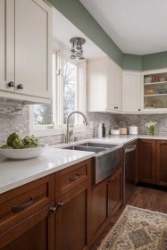 Unique Painted Kitchen Cabinets Design Ideas With Two Tone 24