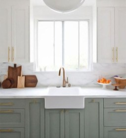 Unique Painted Kitchen Cabinets Design Ideas With Two Tone 41