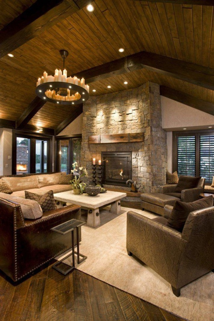 Superb Warm Family Room Design Ideas For This Winter 25