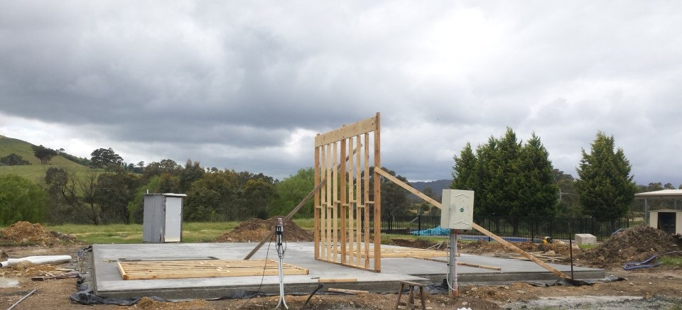 First internal wall frame up, separating the two bedrooms