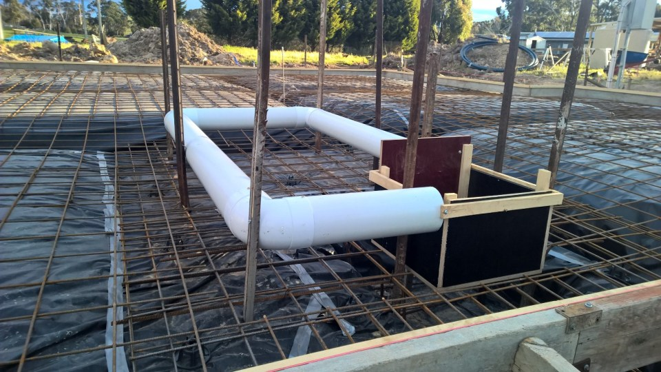 Fish-way channel secured on the underslab