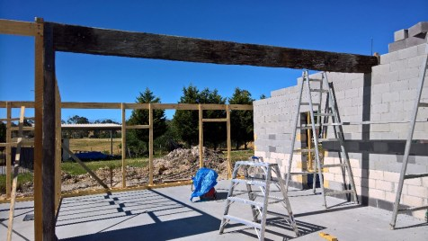 Ironbark beam securely in place