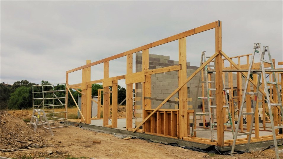 c) Front wall frame with bottom boxing