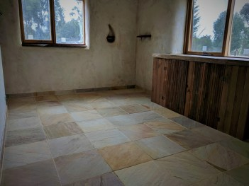 Sandstone tiles in the bedrooms, cleaning the grout off these were a glimpse of hell