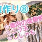 【料理動画】夕食作り#8 鶏肉の塩麹焼き、ニラ玉、ししゃも