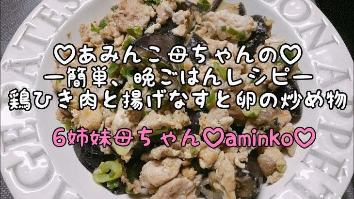 【料理】6児ママ♡大家族♡aminko母ちゃんの簡単、晩ごはんレシピ⭐️鶏ひき肉と揚げなすと卵の炒めもの⭐️