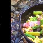 【Asparagus】川でアスパラとベーコンと卵料理!キャンプ飯/アウトドア/bacon egg/베이컨 에그/培根鸡蛋