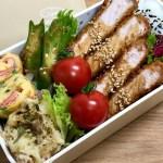 【ロースカツ弁当】お弁当作り|ベーコンポテサラ・オクラのおかかポン酢・カニカマネギ入り卵焼き