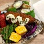 【のり弁】お弁当作り♪ちくわチーズ磯辺揚げ&白身魚フライ ・甘い卵焼き・いんげんの胡麻和え・赤ウインナー
