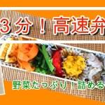 【料理動画】朝3分の高速弁当!作り置きのおかずをどんどん詰めて行くだけ☆野菜のおかずたっぷりのヘルシー弁当です。