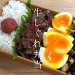 【牛しぐれ弁当】お弁当作り|半熟卵・小松菜のおかか和え・ひじきと大豆の煮物・梅干し[旦那弁当]Bento Box