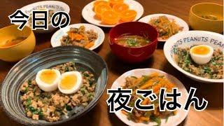 【料理・夜ご飯】餃子丼はレシピあり!と、レンチンチャプチェを作る料理動画
