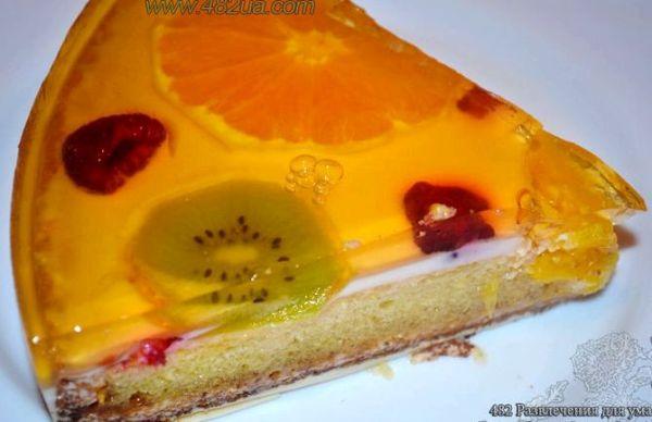Желейный торт с фруктами и бисквитом рецепт с фото