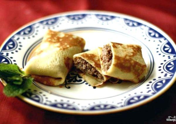 Блины с мясом и рисом рецепт с пошаговым фото