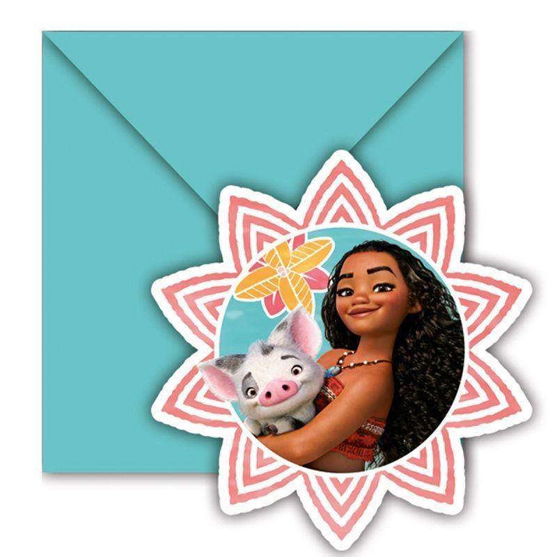 6 cartes d invitation anniversaire vaiana