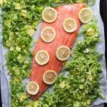 Whole30 Roasted Sheetpan Salmon and wilted brussels sprouts salad