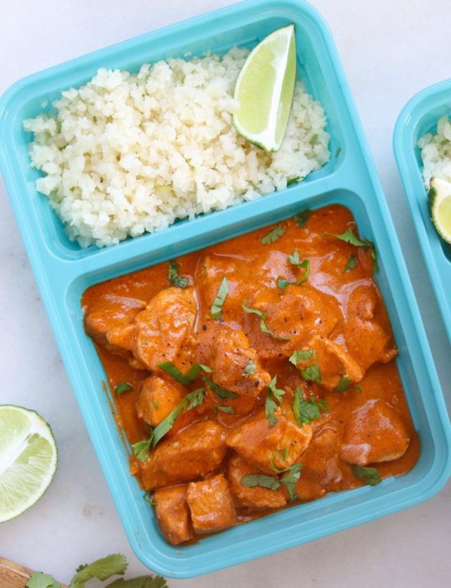 Whole30 Butter Chicken Meal Prep, close up shot of finished dish.