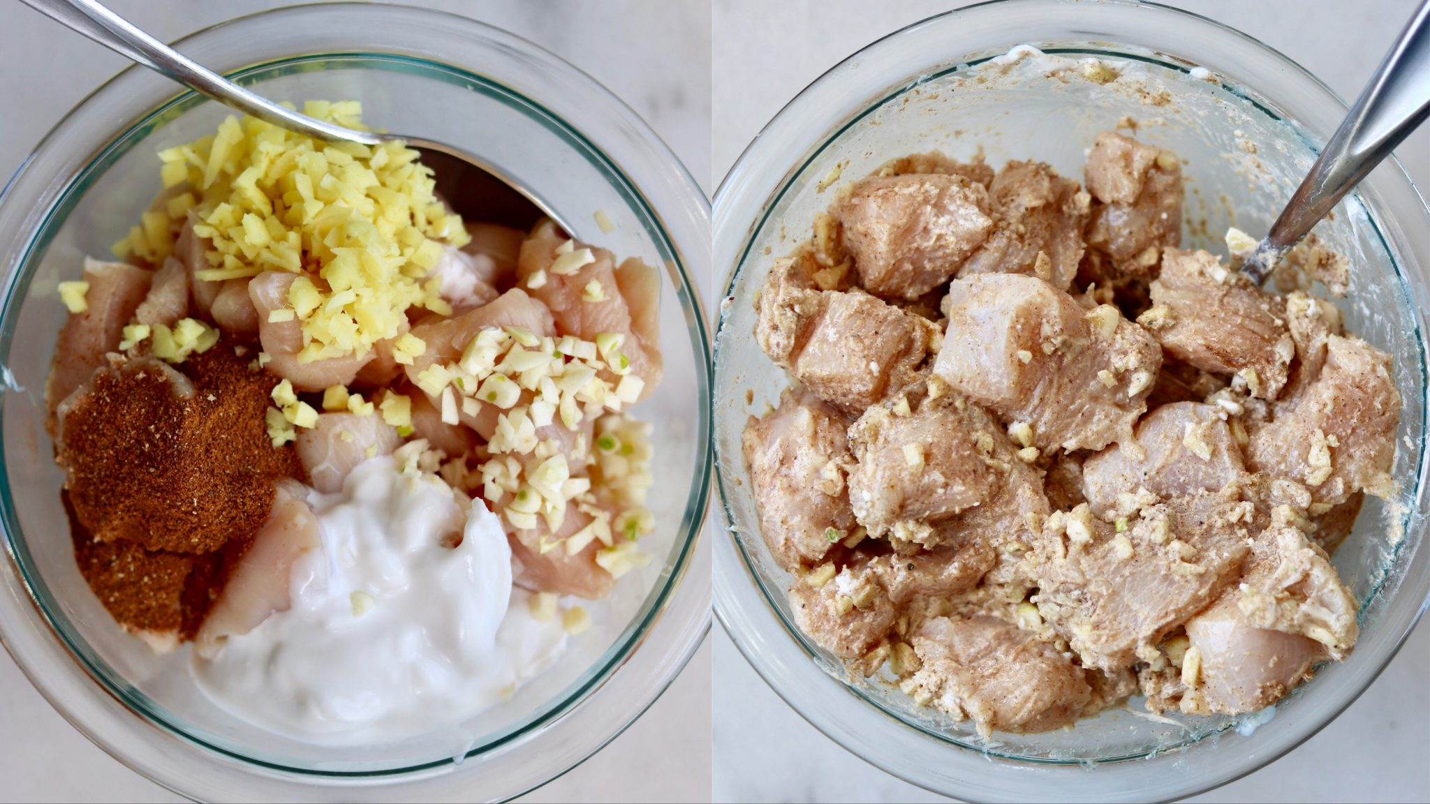 Chicken marinading in a bowl with spices, ginger, garlic, and coconut cream.