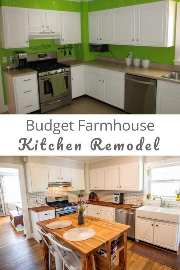 Budget Farmhouse Kitchen Renovation, before and after photo