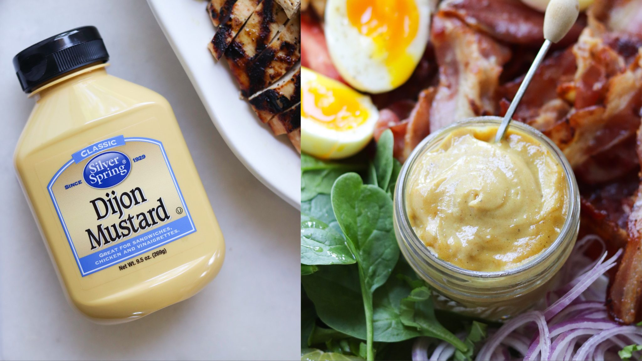 Collage showing a close up of the dijon mustard bottle and the finished honey mustard in a small mason jar.