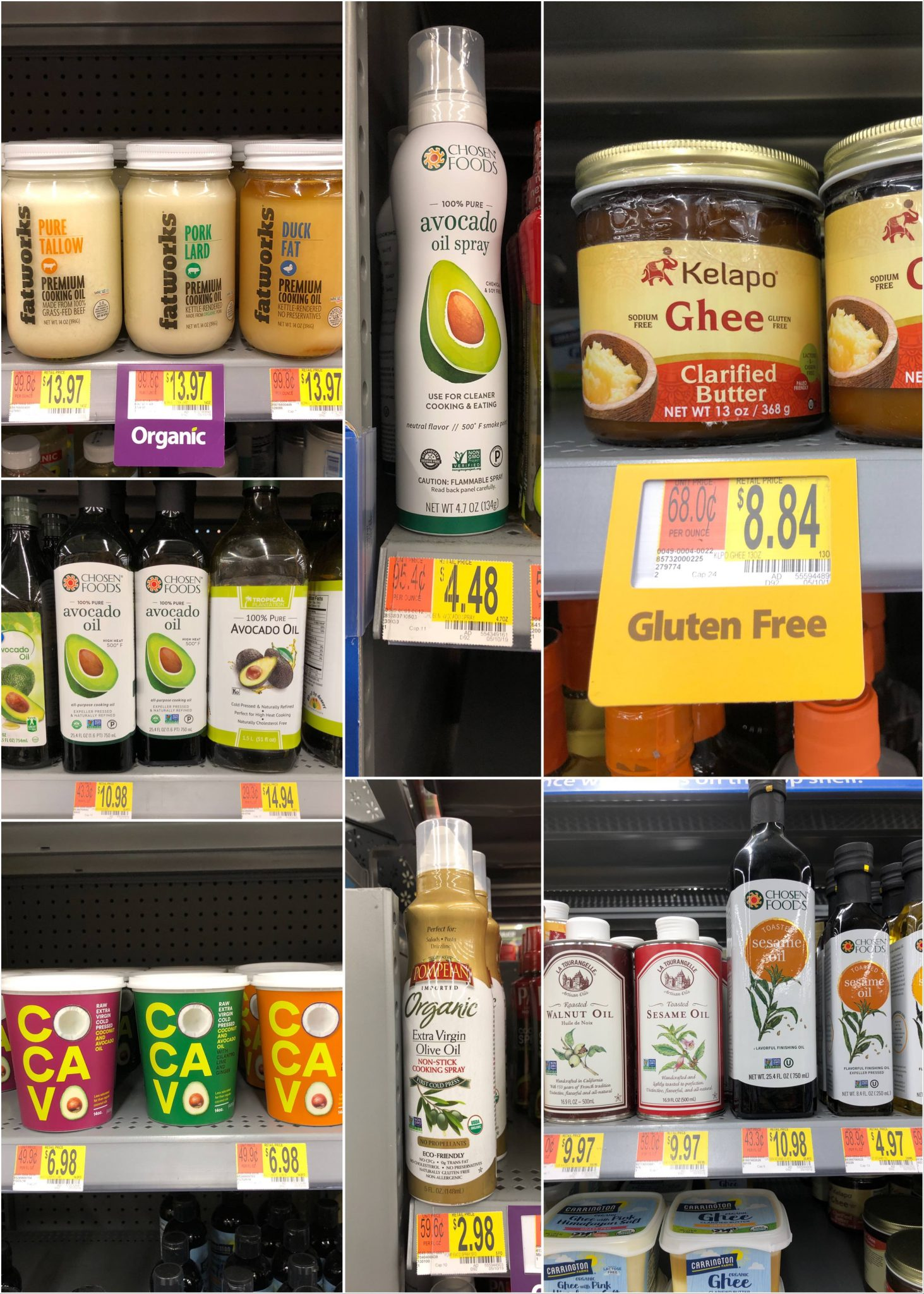 The Whole30 compliant oils, ghee, and animal fats with prices that are available at Walmart.