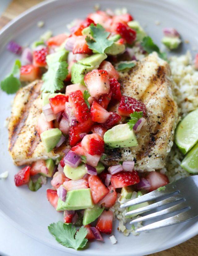 Grilled Halibut & Strawberry Guacamole - Finished Dish