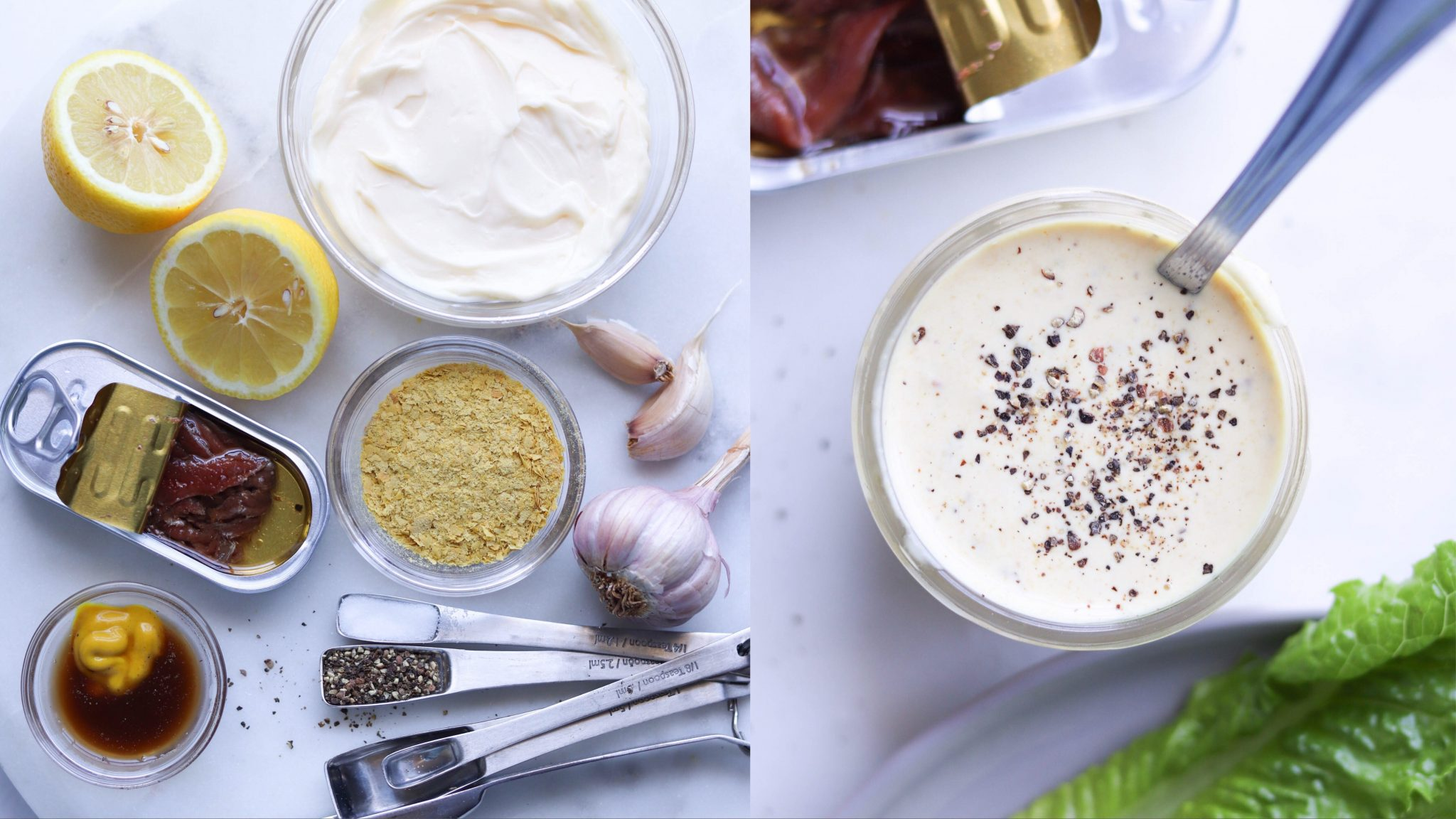 A collage showing all the ingredients for Whole30 Caesar Salad Dressing laid out - garlic, mayo, lemon, nutritional yeast, anchovies, salt and pepper. The second image shows the completed Caesar salad dressing in a small glass mason jar with black pepper sprinkled on top and a stainless steel spoon for serving.