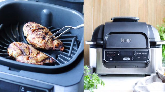 A collage of two photos. The first photo shows the chicken being grilled, and the second photo shows the Ninja grill sitting on a white marble board.