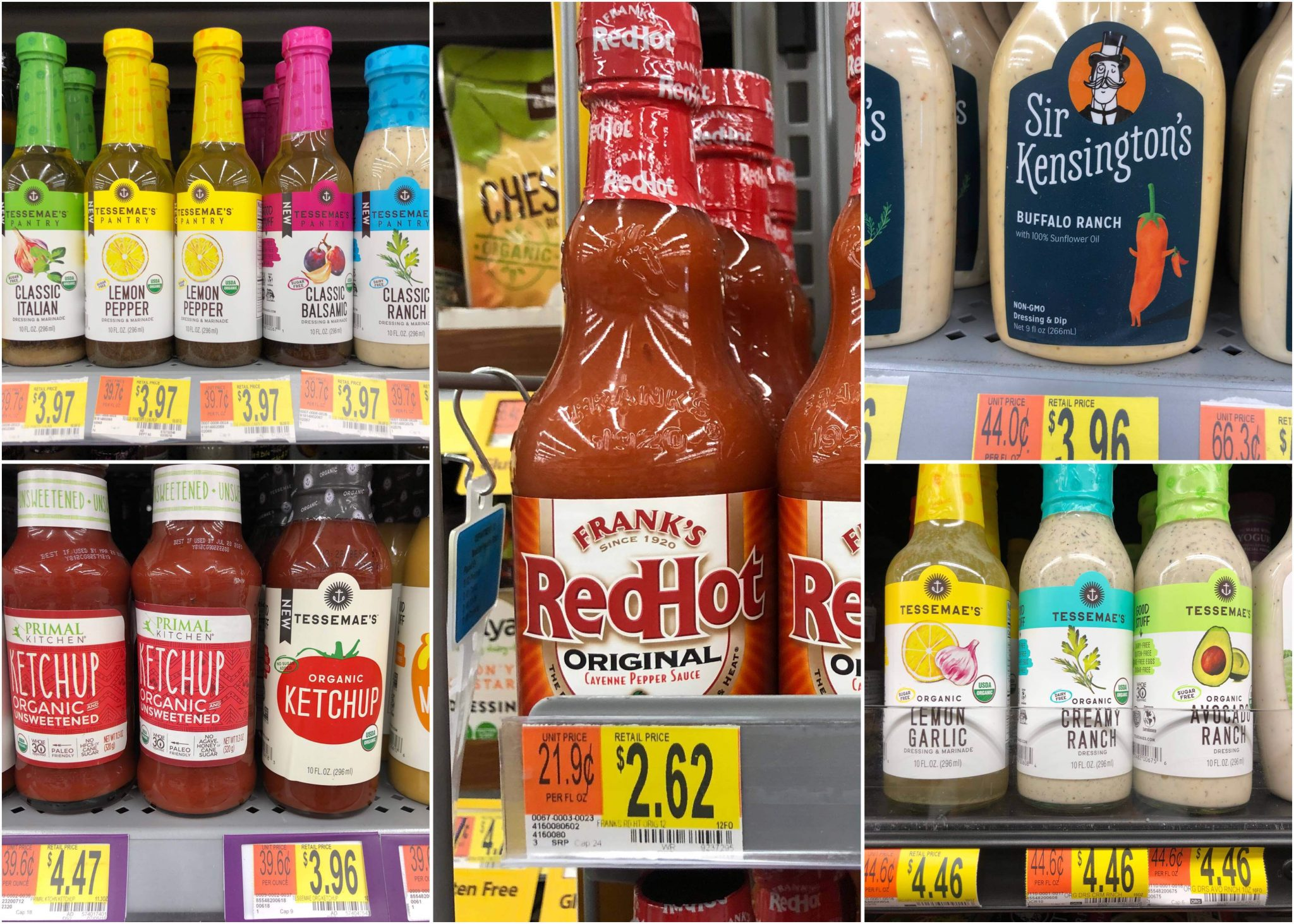 A collage of condiments