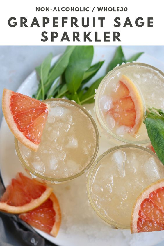 Grapefruit Sage Mocktail - Pinterest Image
