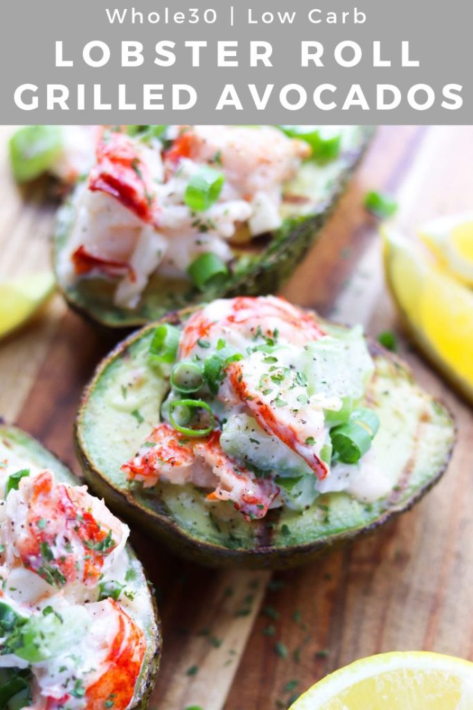 These Paleo, Low Carb and Whole30 Lobster Rolls are served in Grilled Avocados, and they'll quickly become your new favorite summer lunch! They're actually  quite budget-friendly, plus super delicious and really easy!   #cookathomemom #whole30recipes