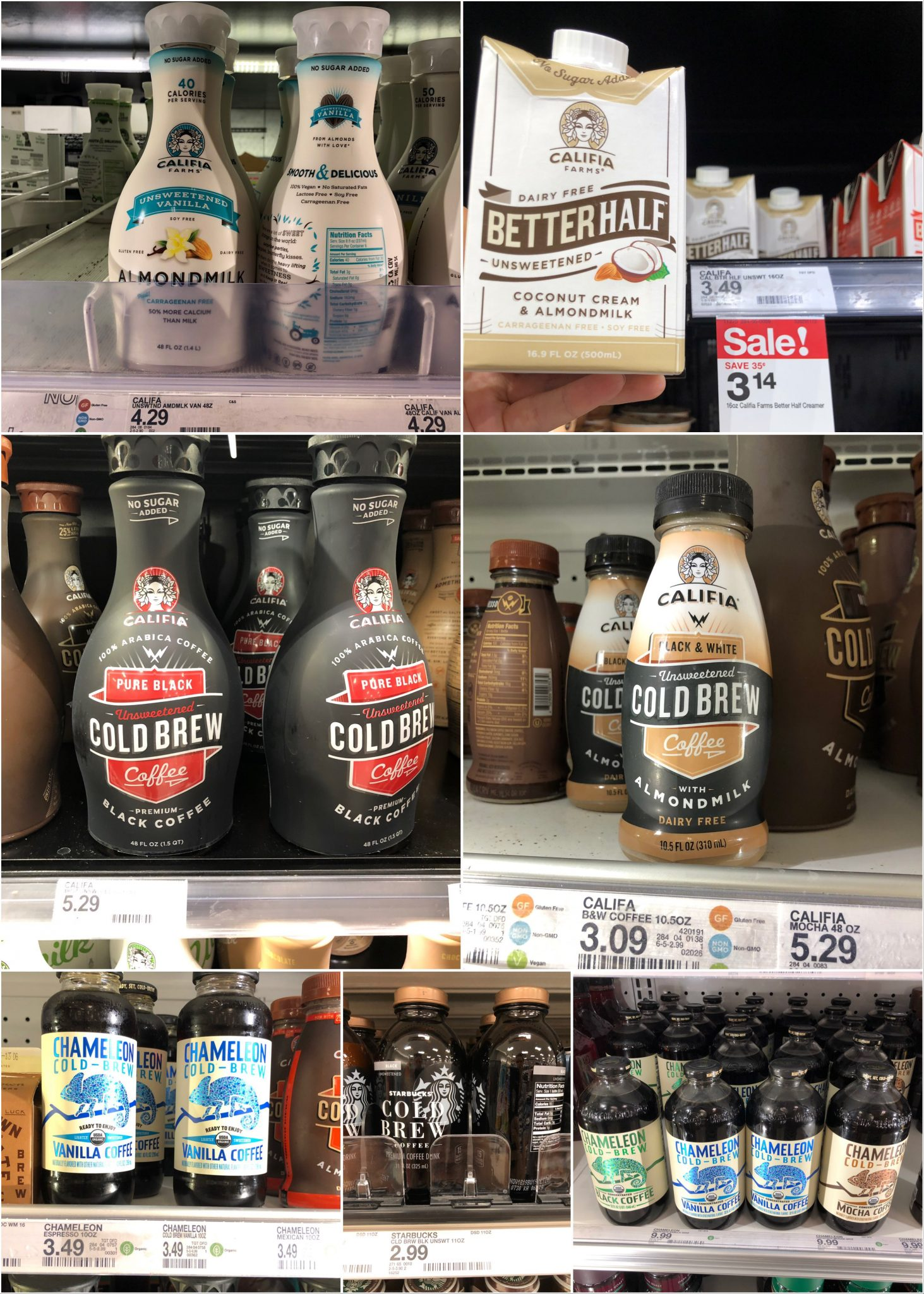 A collage of Whole30 coffee beverages available at Target.