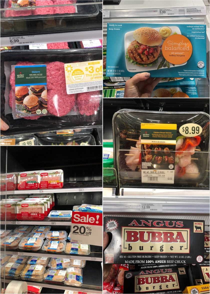 Collage of packaged meat on shelves.