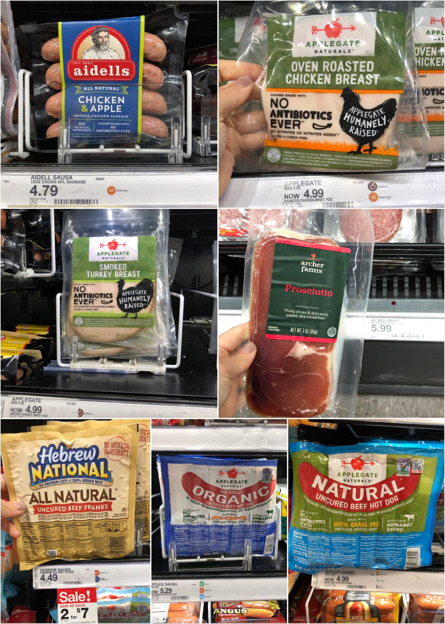 Collage of packaged sausages, lunch meat, and hot dogs.