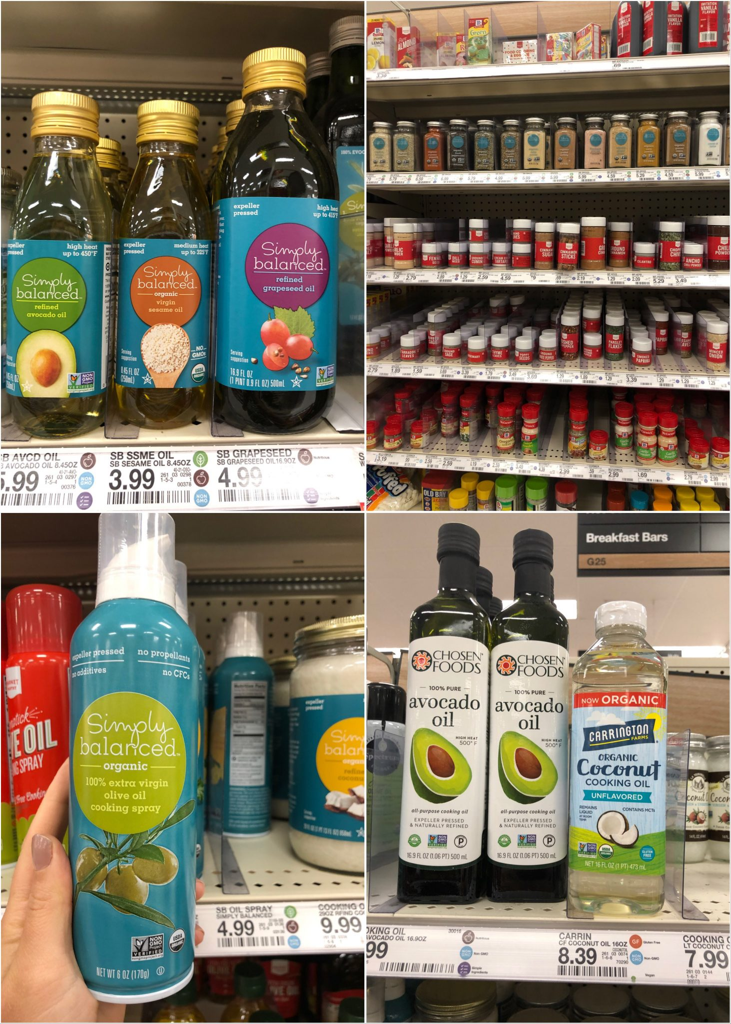 Collage of different oils at Target.