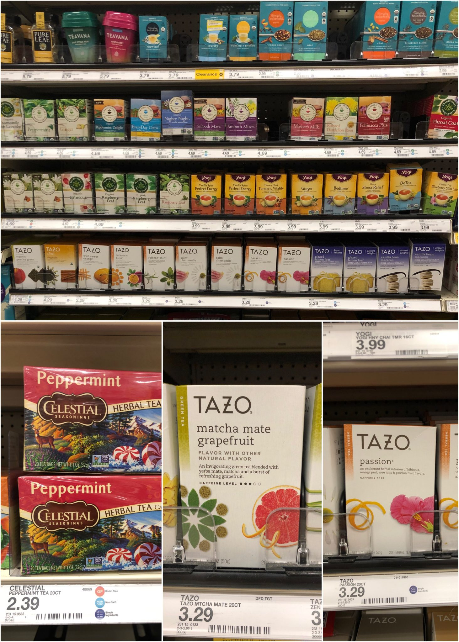 Collage of boxes of tea.