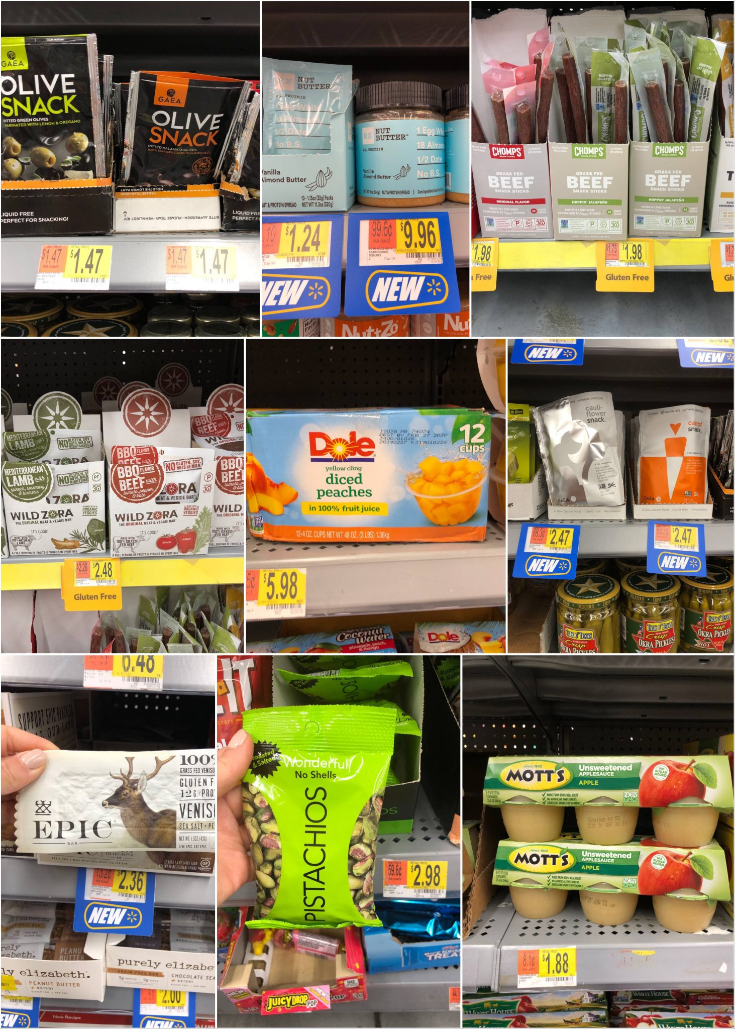 A collage of packaged snacks and emergency foods.