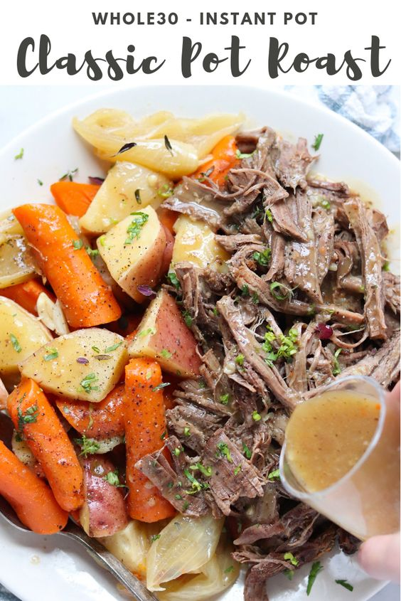 """Pinterest Graphic with a closer up photo the plated, finished dish and the words, """"Whole30 Instant Pot Classic Pot Roast."""""""