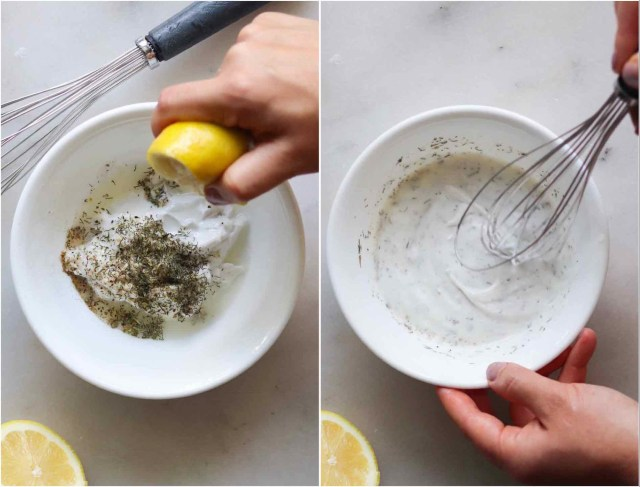 Creamy Mediterranean Lemon Salad Dressing Collage. In the first image, a lemon in being squeezed into a bowl of herbs and coconut cream. In the second image, the ingredients are being whisked together.