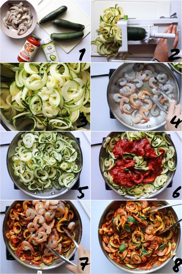 A collage showing Step by Step photos of the process of making Whole30 Shrimp Fra Diavolo.