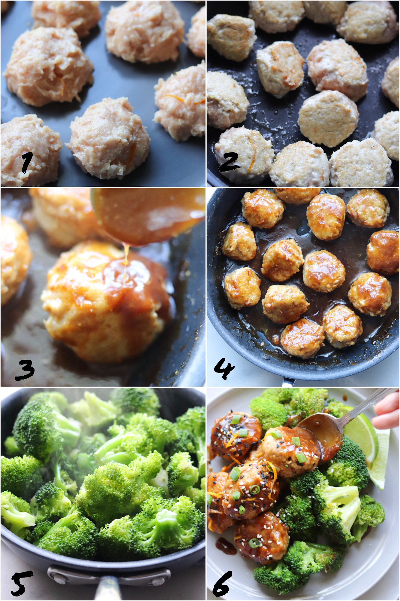 A collage with Step by Step instructions on how to cook the recipe. Form the meatballs, brown the meatballs, simmer the sauce, steam the broccoli, and then serve!